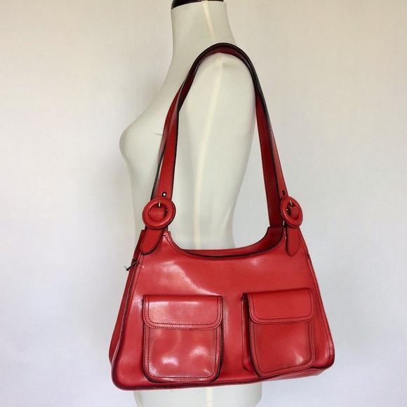 Kazuyo Nakano Handbags - Kazuyo Nakano structured red leather shoulder bag